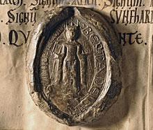 Sceau du testament de la Reine Berthe (C Ia 3, faux du XIIème siècle)
